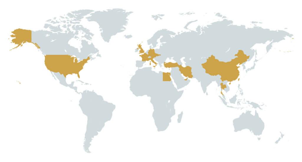 Kotara s.r.o. - mapa zahraničního působení
