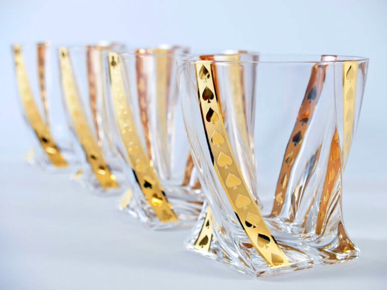 Gold poker whisky tumblers 340 ml - spades