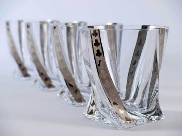 Silver poker whisky tumblers 340 ml - clubs