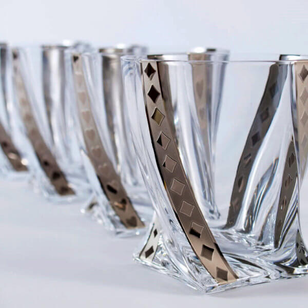 Silver poker whisky tumblers 340 ml - diamonds