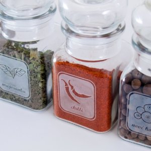 Spice jars for clove, chilli, marjoram, allspice and paprika - 150 ml