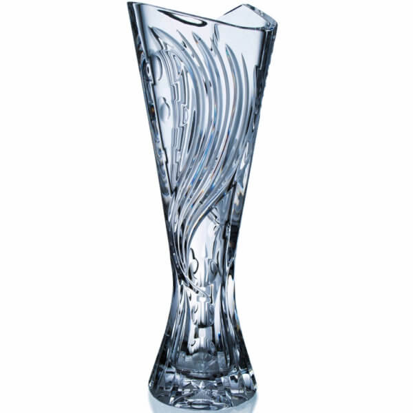 Ručně vyrobená křišťálová trojhranná trofej - Wave, 40 cm