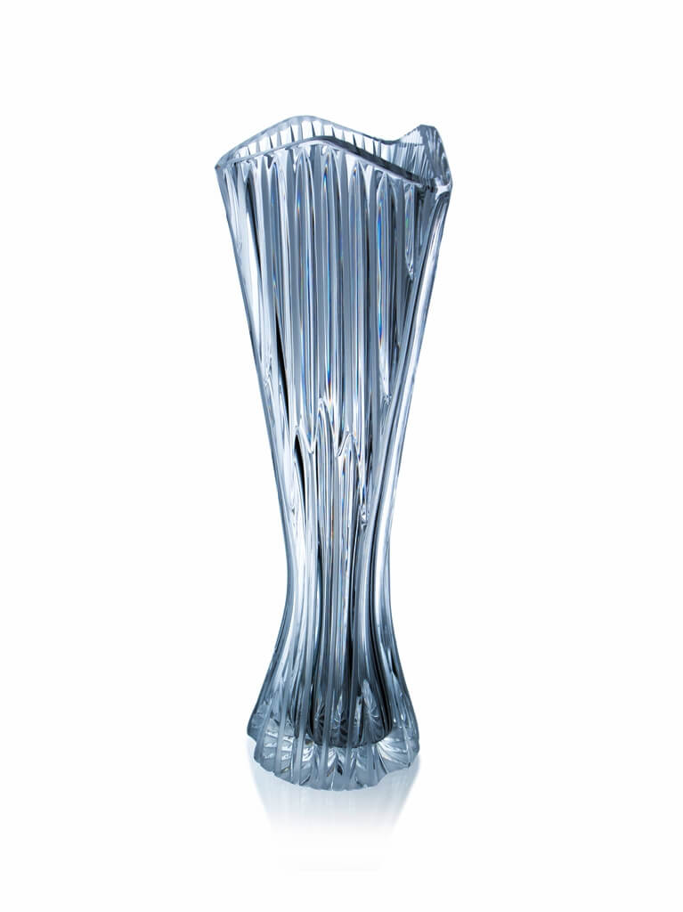 Hand-made and cut crystal triangular vase - Lines, 40 cm
